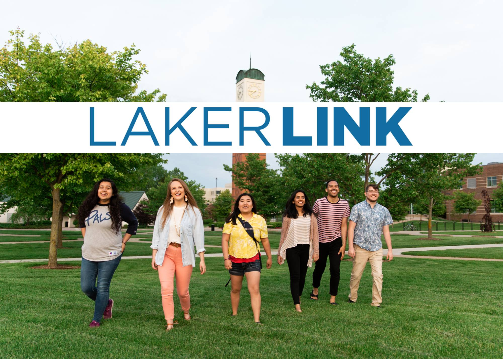 "Students walking away from Cook Carillon-Tower with the words ""LakerLink"" above their heads."
